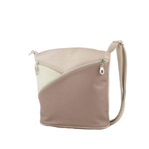 Бежевая сумка на длинном ремне.