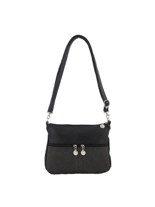 Маленькая сумочка кросс-боди. Черная с серым.